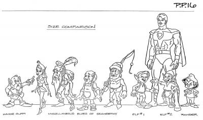 A model sheet showing many of the Elves of Seaworthy.