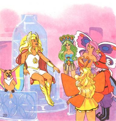 She-Ra sits upon a throne surrounded by her friends.