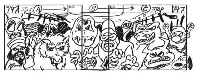 Tom Sito illustrates Snoopy and a Smurf in one storyboard panel.