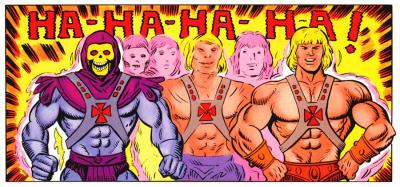 Skeletor transforms into He-Man.