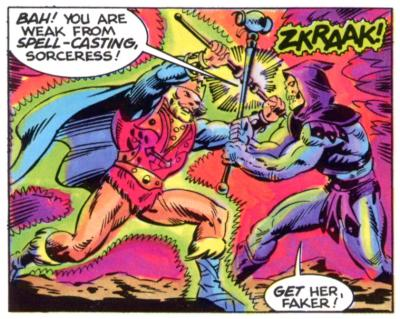 Skeletor and King Randor battle.