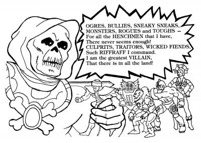Skeletor appears to be holding some action figures.