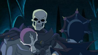 Skeletor stands before Evil-Lyn.
