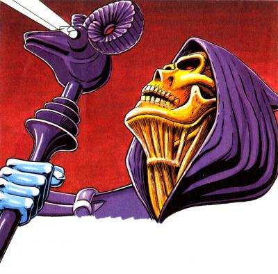 Skeletor looks upwards revealing a detailed neck.
