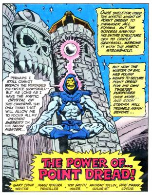 Skeletor levitates outside of Castle Grayskull.
