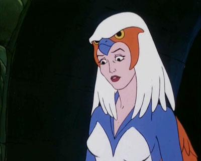 The Sorceress stares wide-eyed at Vokan's attack.