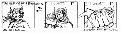 She-Ra punches the screen in three storyboard panels.