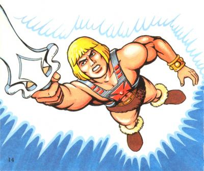 He-Man holds the Sword of Power aloft.