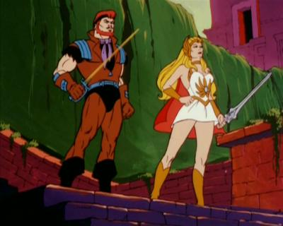 She-Ra and Sea Hawk stand with their swords at the ready.