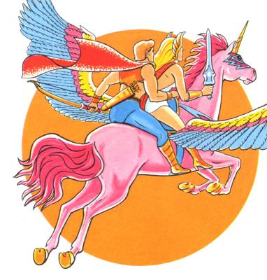 She-Ra, Bow, and Swift Wind head into the skies.