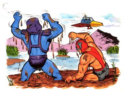 Skeletor and Zodac are knee-deep in mud.