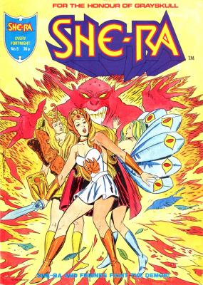 She-Ra, Sweet Bee, and Peekablue battle a demon.