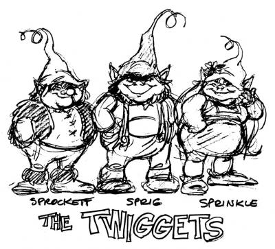 The original Twiggets prior to their design for animation.