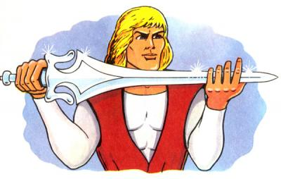 Prince Adam holds the sword.