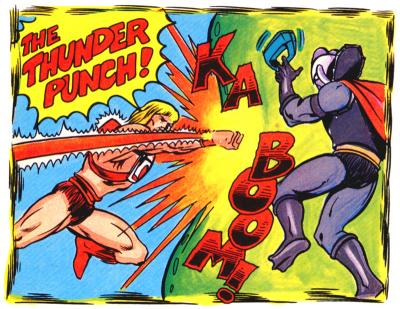 He-Man unleashes the Thunder Punch on Hordak.