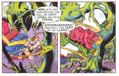 He-Man and Battle Cat violently attack threatening plant-life.