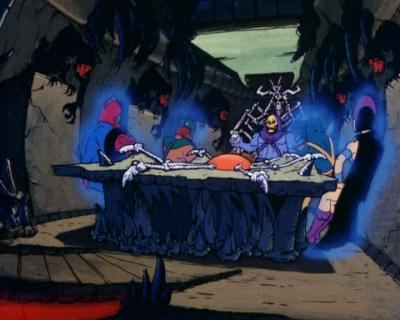 "Skeletor's throne room as it appeared in ""Diamond Ray of Disappearance""."