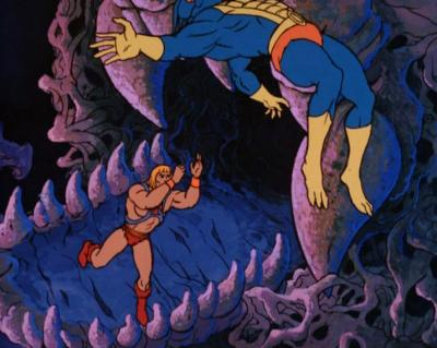 He-Man throws Mer-Man into the air.