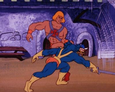 Once again He-Man sidesteps Mer-Man's attack.