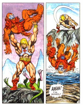 He-Man throws Beast Man into some water.