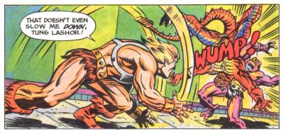 He-Man throws Rattlor into Tung Lashor.