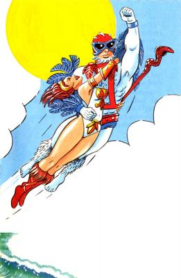 Stratos carries Teela high into the sky.