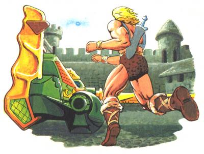 He-Man races towards the Wind Raider.