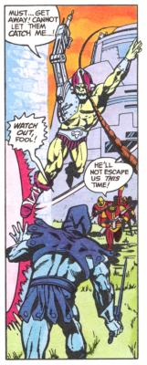 Trap Jaw escapes as Skeletor appears.