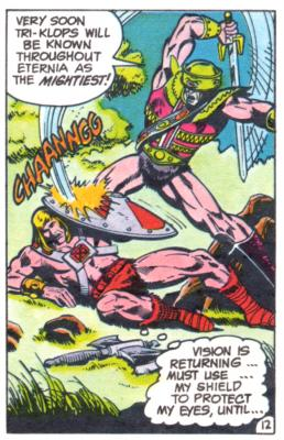 Tri-Klops attacks He-Man, forcing the hero to the ground.