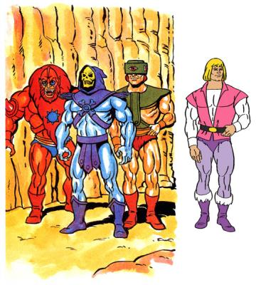 Tri-Klops stands in exactly the same pose as the Prince Adam model sheet.