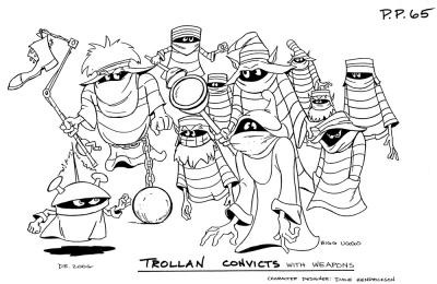 A model sheet featuring the cast of Trollan Convicts.