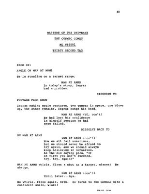 "A script page from ""The Cosmic Comet"" shows additional action."