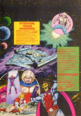 A preview of The New Adventures of He-Man comic shows a helpless Prince Adam, as Skeletor ascends.