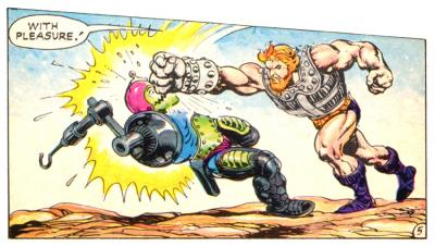 Fisto punches Trap Jaw.
