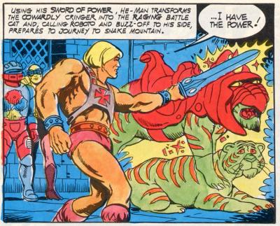 He-Man transforms Cringer into Battle Cat with Roboto and Buzz-Off looking on.